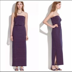 Madewell Striped Weekend Strapless Maxi Dress M